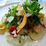Peter - 北海道の帆立のカルパッチョ セミドライトマト ペコリーノリーズ ソースはエシャレット風味です