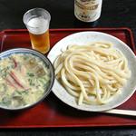 あそび - 冷や汁うどん(750円)+ビンビール700円