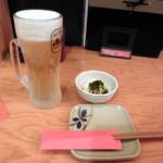 鳥菊 - タイムサービスで315円のビールと選べるお通し315円