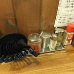 激アツ! めん蔵 - カウンターの調味料