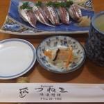 つね三 - ・鯵寿司とお通しと茶