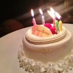 牛角 道頓堀えびす橋店 - 丁度いいサイズで美味しい!バースデーケーキ
