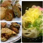 栖の宿 - 左上から時計回りに野菜コロッケ・わんこ素麺・野菜たっぷりオムレツ