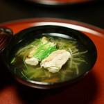 雑司が谷 寛 - 沢煮椀(新牛蒡・人参・木耳・絹さや・芽葱・地鶏網焼き・口胡椒)