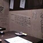 炭焼きっちん 祐星 - 店内の壁に書かれたレシピ
