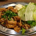 串揚げ ひかりや - ホルモン炒め(480円)辛さが選べます。