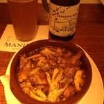 MANIMAL - 砂肝のアヒージョをセットに笹塚ビール^_−☆