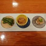 山海 - 前菜(枝豆・自家製の烏賊塩辛・ツナフレーク)