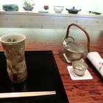御料理 伊とう - <2013年7月>お酒は、千葉県の甲子(きのえね)。錫酒器は大阪錫器の徳利と、干支の巳のお猪口です。特注品♪