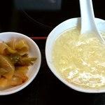 好味苑 - 好味苑 @本蓮沼 ライスセットの豆腐と溶き卵スープとたっぷりの搾菜の漬物