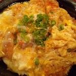 19992141 - 『かつとじ丼 W卵』盛り付け完了~♪(^o^)丿