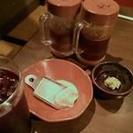 和牛 涼 - 醤油タレ、味噌ダレ、ワサビ、ローズソルト