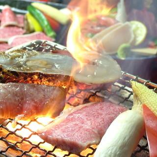 ☆九州牛や厳選海鮮・地元岡山産の野菜を七輪焼きで堪能☆