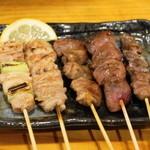 げんき鶏 - 料理写真:2013.6 盛り合せ(630円)ねぎま、ネック、ハツ、鶏レバ、砂肝