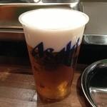 かき殻荘 - ビールはプラコップで!
