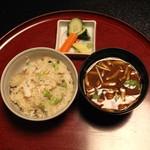 雑司が谷 寛 - 食事 (かます枝豆茗荷御飯 味噌汁 香の物)