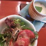 20010143 - 超特選にぎりにはサラダと茶碗蒸しとお吸い物とデザート(この日はフルーツのシロップ漬け)が付きます