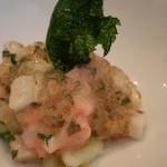 黒猫 - 鱧と山芋の梅肉ソース トマトジュレ