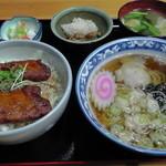 丸八亭 - ミニソースカツ丼650円+半ラーメン350円