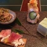 20058429 - 惣菜盛り合わせ(・ポテトサラダ・枝豆豆腐トリュフ塩で・食べられる短冊・へちまと島豚の炒め物)