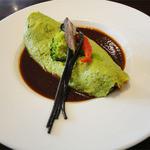 ピノキオ - 料理写真:パスタ&オムライスのセット(1680円)えびとチーズ入り緑のオムライス