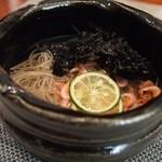 福島 もう利 - 桜海老の十六島海苔の冷やし蕎麦