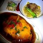 サン・やすらぎ おひさまの部 - 気まぐれランチプレート    天津飯&ミニ担々麺