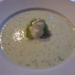 GINZA HABSBURG VEILCHEN - 胡瓜の冷製スープ ディール風味 ガルネーレンプッファーを添えて