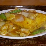 中華の永楽 - 揚げ豆腐と豚肉の辛味炒め(683円)