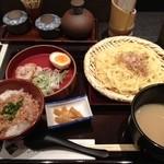 20127578 - 濃厚鶏がらスープのつけ麺京地鶏そぼろご飯900円