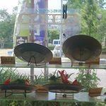 公園堂食堂 - ディスプレイから見る今治城方面