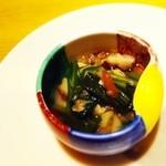 20141037 - 菊菜、水菜、椎茸のお浸し