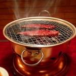 亀楽 - 備長炭でカルビ焼き~