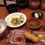20155395 - サラダ(食べかけ)、小鉢、漬物、串揚げ