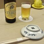 銀座 鮨青木 - ビールで乾杯