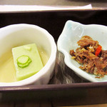 シラハマキーテラス ホテルシーモア - 先付 枝豆豆腐と牛時雨煮 '10 7月下旬