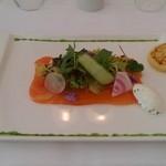 20173342 - 前菜 フレッシュサーモンマリネのディル風味 ポテトのクレープとともに
