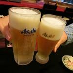 骨付鶏 ひろ - 生ビール450円と生グラス350円
