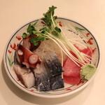 鈴傳 - 刺身盛合せ (鮪、〆鯖、煮蛸)