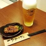 20194746 - 生ビール+ピーマンの肉詰め