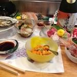 """よし - """"おまかせ""""の天籟コースの参考例になります。これにお寿司やお椀などになります"""