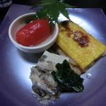 粋や 旬月 - 柳川豆腐、タチウオとトウモロコシの焼き物