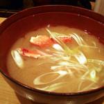 鮮極 - 蟹の味噌汁。