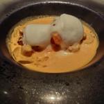 レストラン ラ フィネス - 京都 福知山の由良川より天然鰻と天然手長海老のヴルーテ       ~エクルビスのビスクが絶品。        前回と違い、天然鰻は脇役的な存在になった。