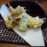 美鶴 - 天ぷら(海老、花オクラ、オクラ、カボチャ)