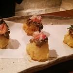 くずし割烹 和dining 一昇 - 玉ねぎ天ぷらかに味噌をのせて