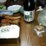 とんかつ竹 - 松定食大盛り:1,200円、付け合せに静岡地酒「喜久酔・純米吟醸・松下米仕様」+新品硝子の杯
