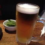 鳥伊勢 - ビール(中)とお通しの枝豆