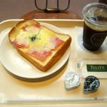 タリーズコーヒー - ...「モーニングセット-ドリンクセット(500円)/オープンサンド ベーコンチーズ(300円)+アイスコーヒー(200円)」、Good taste!