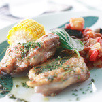 ティアツリー オーチャードカフェ - ランチセットは鶏のカリカリ焼きを選びました。